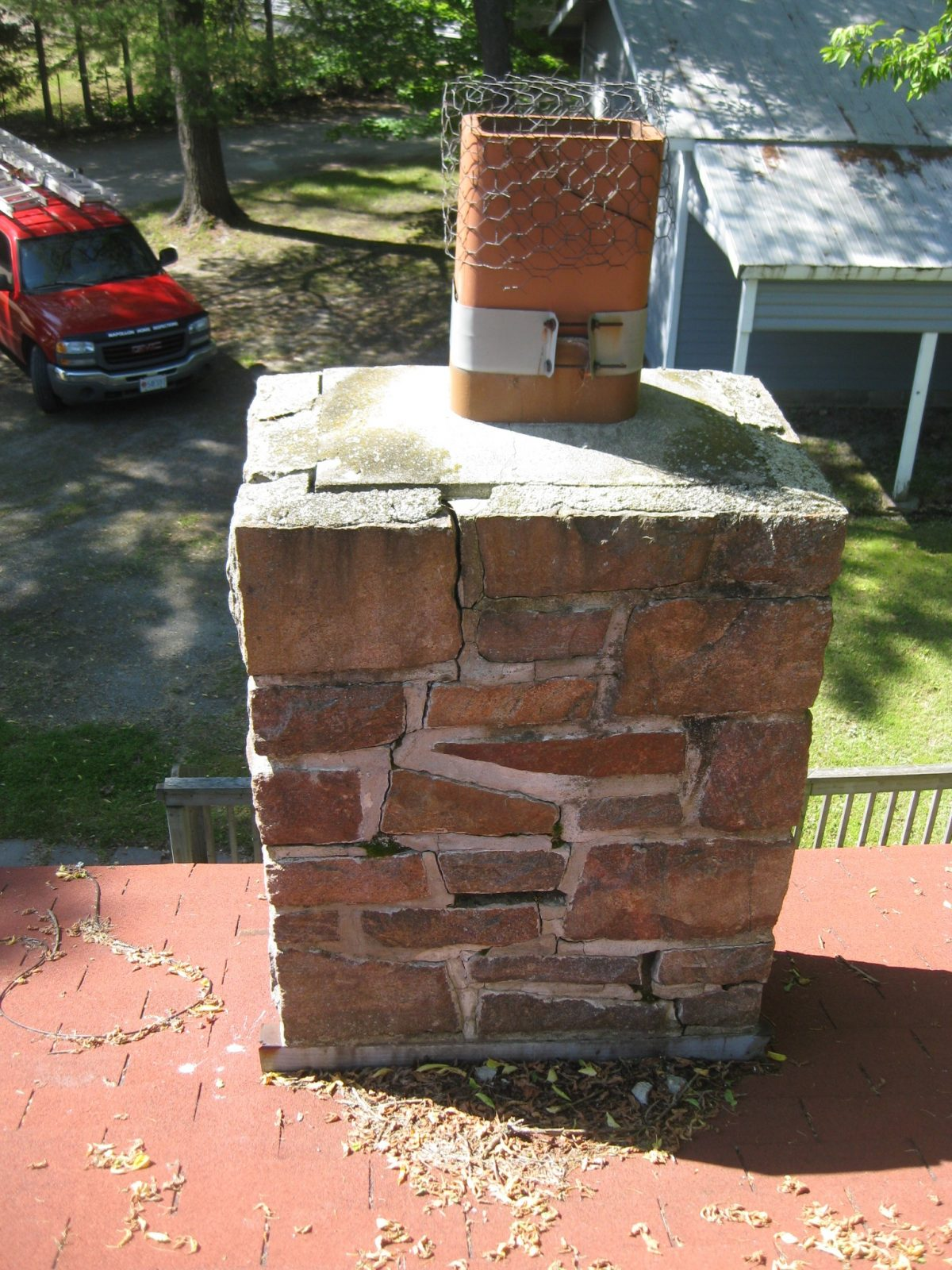 Structural damage to chimney.  Requires rebuilding.