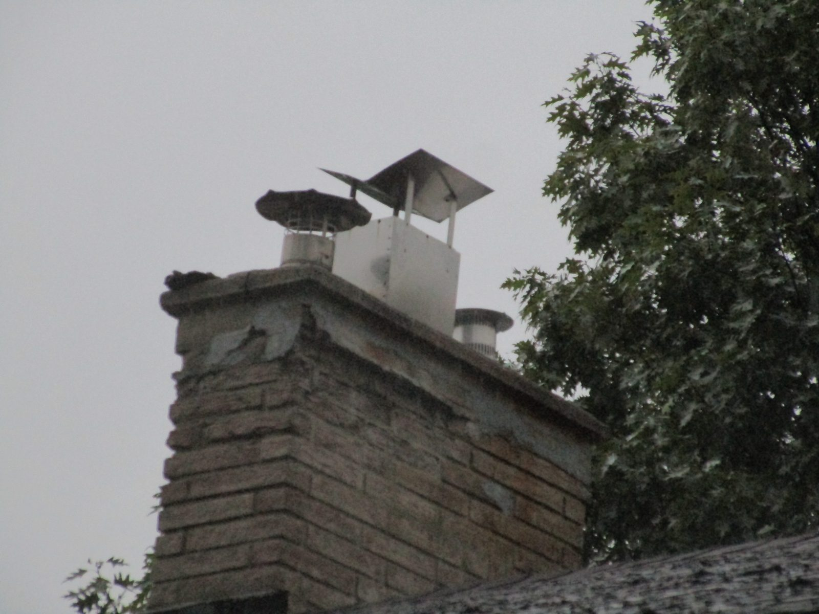 Structural Damage to chimney and Home Made Rain Cap